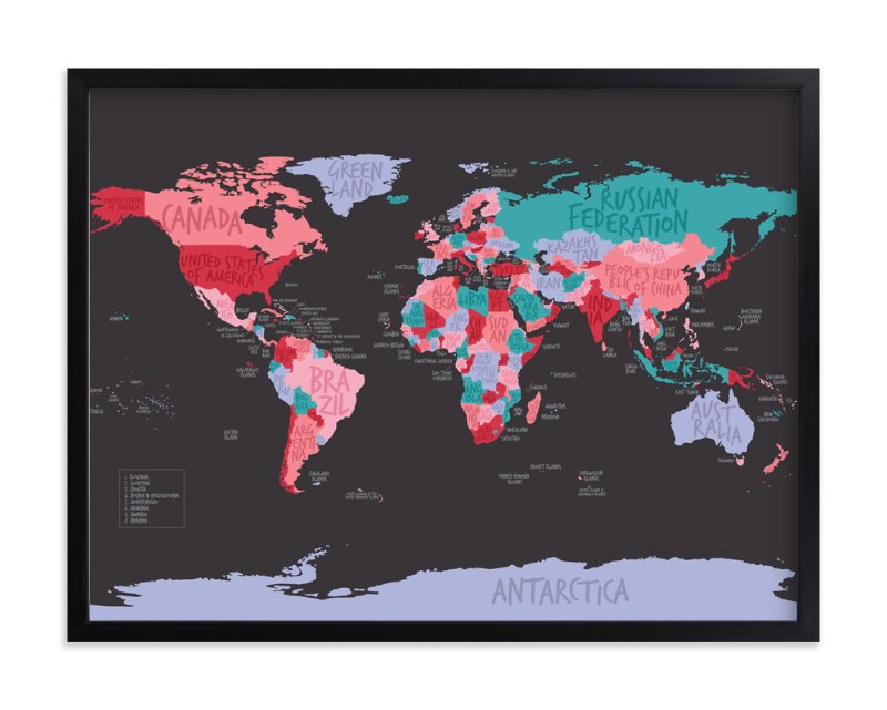 """All The Countries Of The World"" - Art Print by Anita Kingsley in beautiful frame options and a variety of sizes."