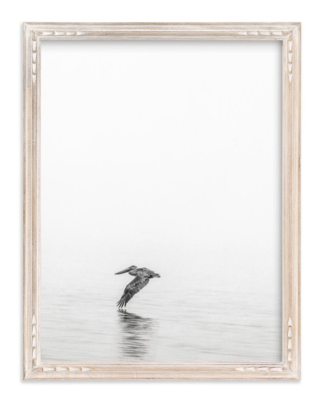 """Pelican on Lake"" - Art Print by Mary Ann Glynn-Tusa in beautiful frame options and a variety of sizes."