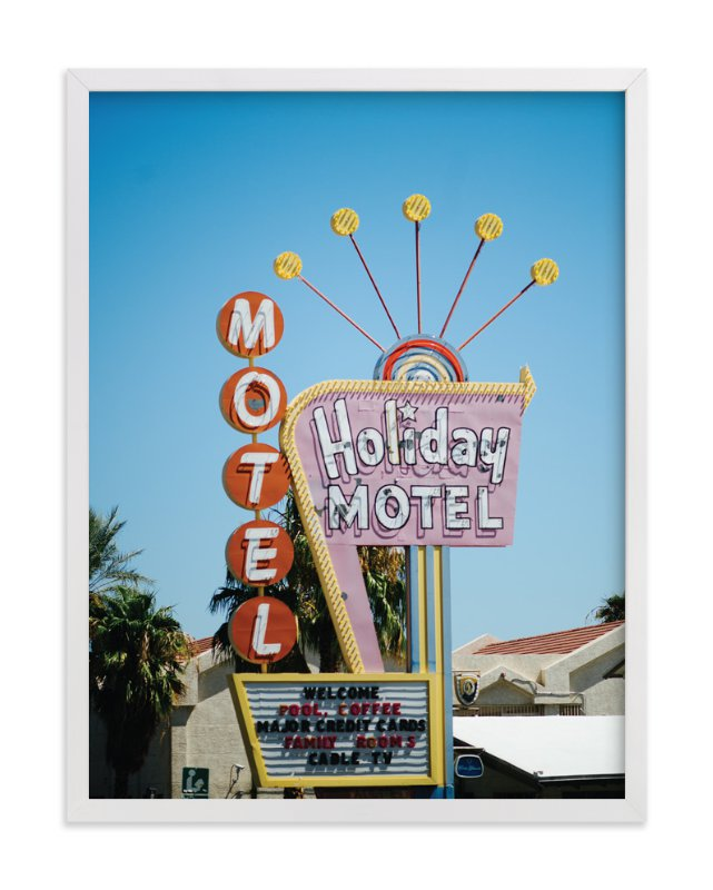 """""""Holiday Motel"""" - Art Print by Jennifer Little in beautiful frame options and a variety of sizes."""