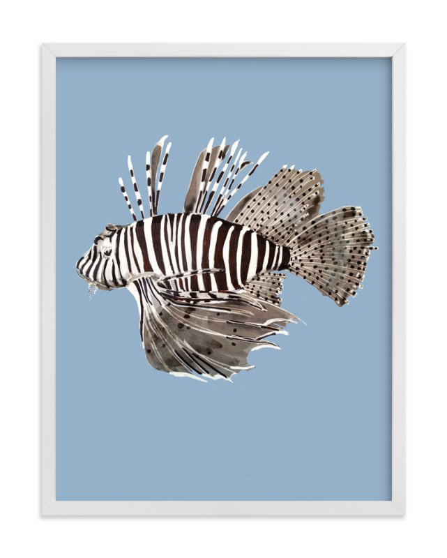 """""""Underwater World The Lionfish"""" - Art Print by Deborah Velasquez in beautiful frame options and a variety of sizes."""