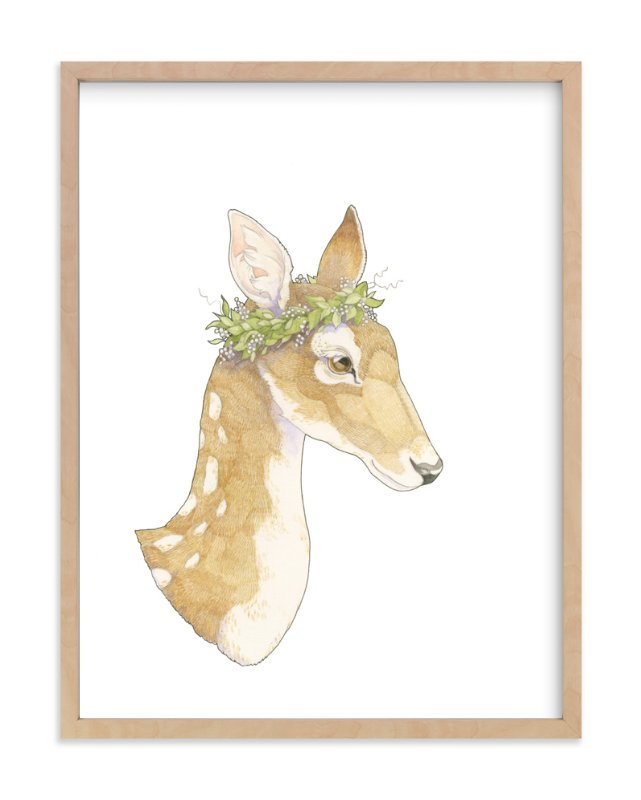 """""""Mrs Deer"""" - Art Print by Natalie Groves in beautiful frame options and a variety of sizes."""