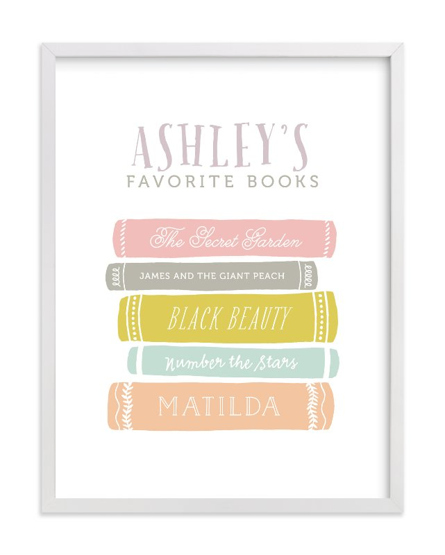 """Favorite Books"" - Children's Custom Art Print by Kelly Nasuta in beautiful frame options and a variety of sizes."