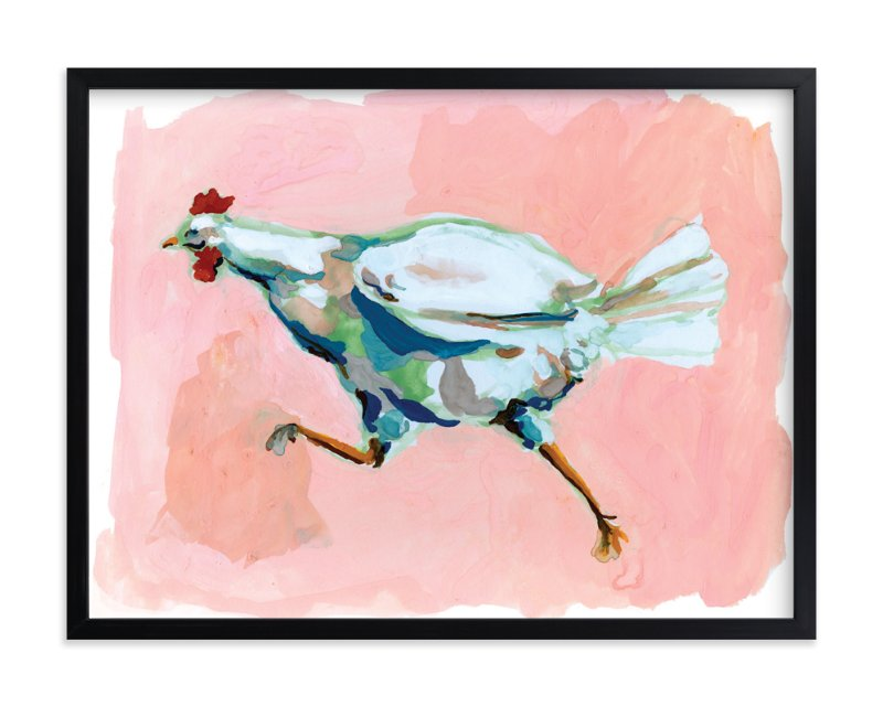 """Chicken Run"" - Art Print by Betty Hatchett in beautiful frame options and a variety of sizes."
