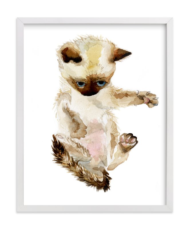 """Siamese Kitten"" - Art Print by Lauren Rogoff in beautiful frame options and a variety of sizes."