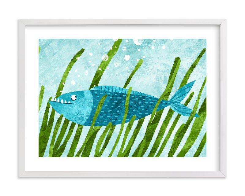 """That Blue Fish"" - Art Print by Evelline Andrya in beautiful frame options and a variety of sizes."