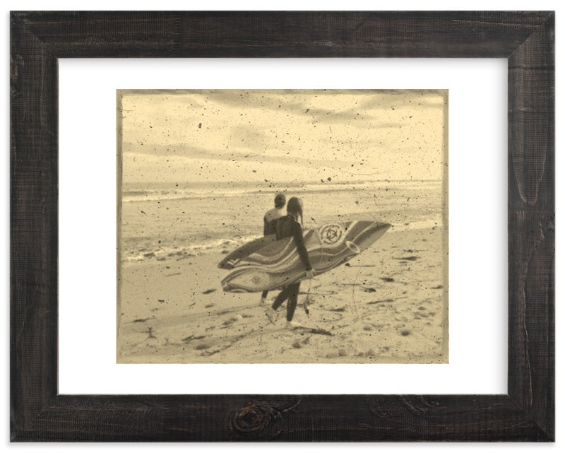 """Vintage Malibu : Surfer Couple 1"" - Limited Edition Art Print by Leah Lenz in beautiful frame options and a variety of sizes."