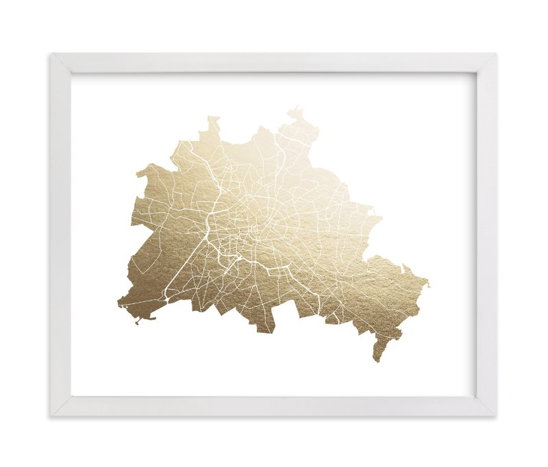 """""""Berlin Map"""" - Foil-pressed Art Print by Snow and Ivy in beautiful frame options and a variety of sizes."""