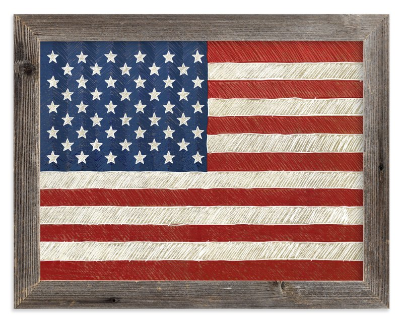 Rustic American Flag Wall Art Prints By Amy Marsh | Minted