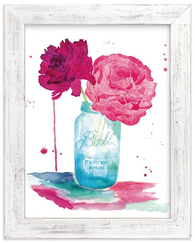 """Peonies and a Mason Jar"" - Art Print by Kelsey McNatt in beautiful frame options and a variety of sizes."