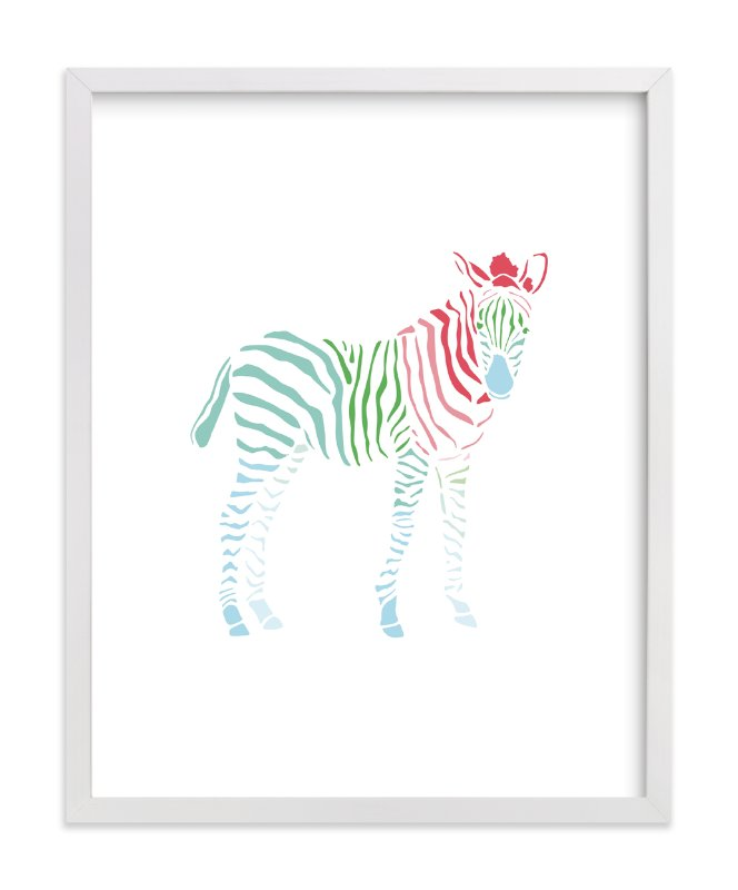 """Rainbow Zebra"" - Art Print by Meredith Collie in beautiful frame options and a variety of sizes."