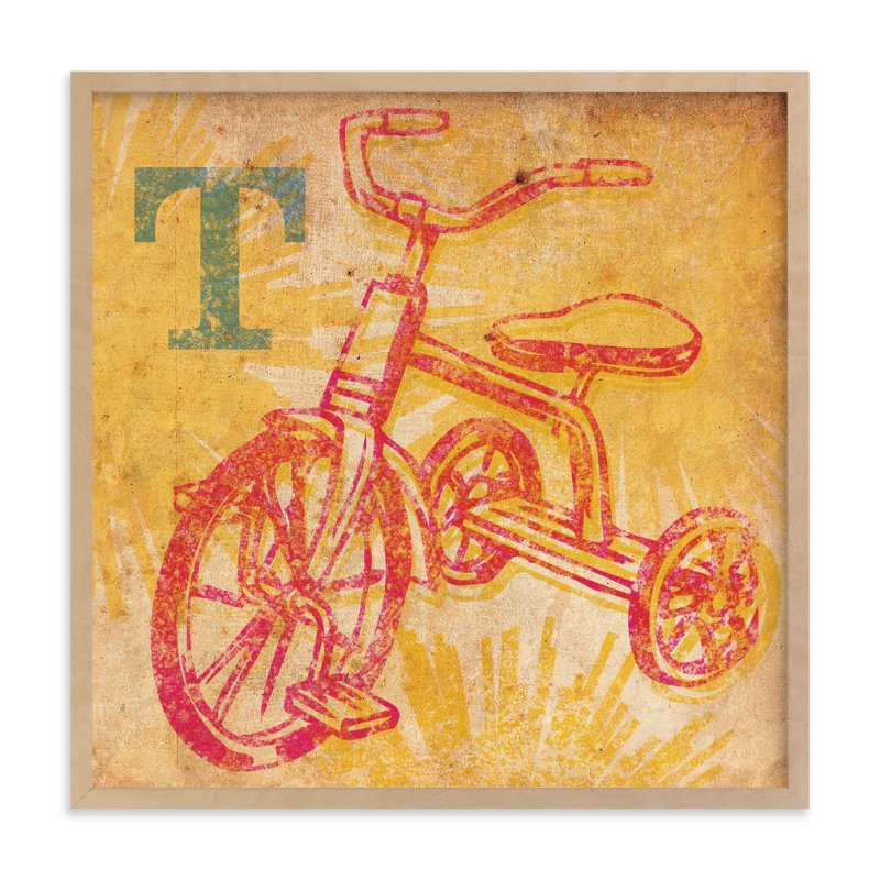 """""""T is for Tricycle"""" - Art Print by Alex Elko Design in beautiful frame options and a variety of sizes."""