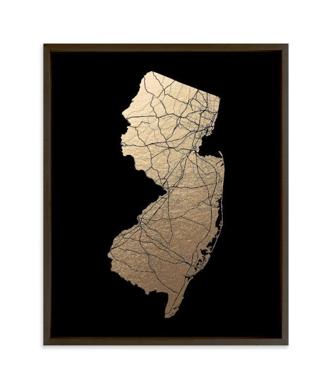 """""""New Jersey Map - Filled"""" - Foil-pressed Art Print by GeekInk Design in beautiful frame options and a variety of sizes."""