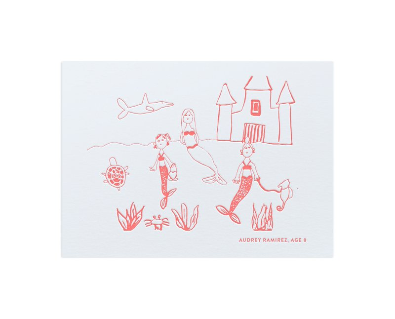 Your Drawing as Letterpress Art Print Kids