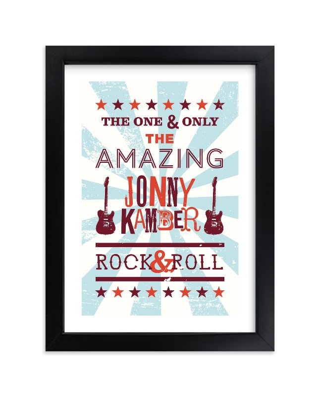 """""""Rock & Roll Poster"""" - Children's Custom Art Print by Shari Margolin in beautiful frame options and a variety of sizes."""