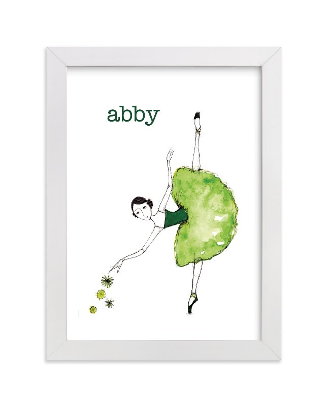 """""""Green Ballerina"""" - Children's Custom Art Print by Sharon McKeeman in beautiful frame options and a variety of sizes."""