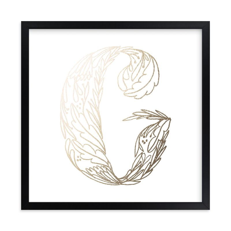 """""""Botanical G"""" - Foil-pressed Art Print by Grace Kreinbrink in beautiful frame options and a variety of sizes."""