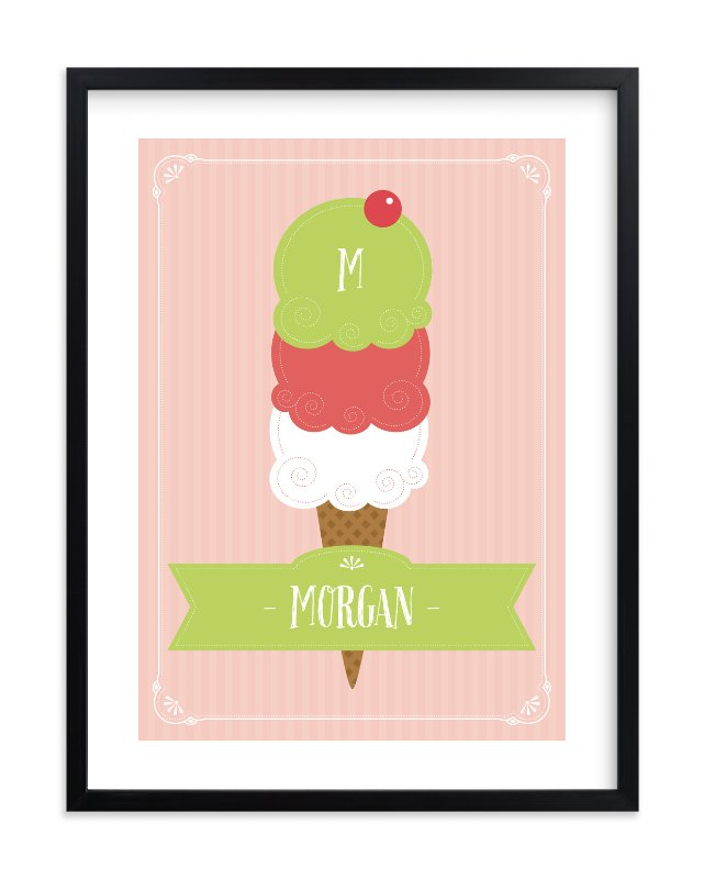 """Ice Cream Dream"" - Children's Custom Art Print by Olive and Me Studios in beautiful frame options and a variety of sizes."