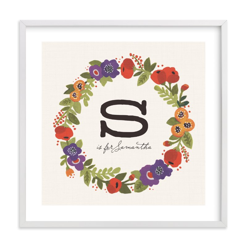 """Garden Wreath"" - Children's Custom Art Print by Kristen Smith in beautiful frame options and a variety of sizes."