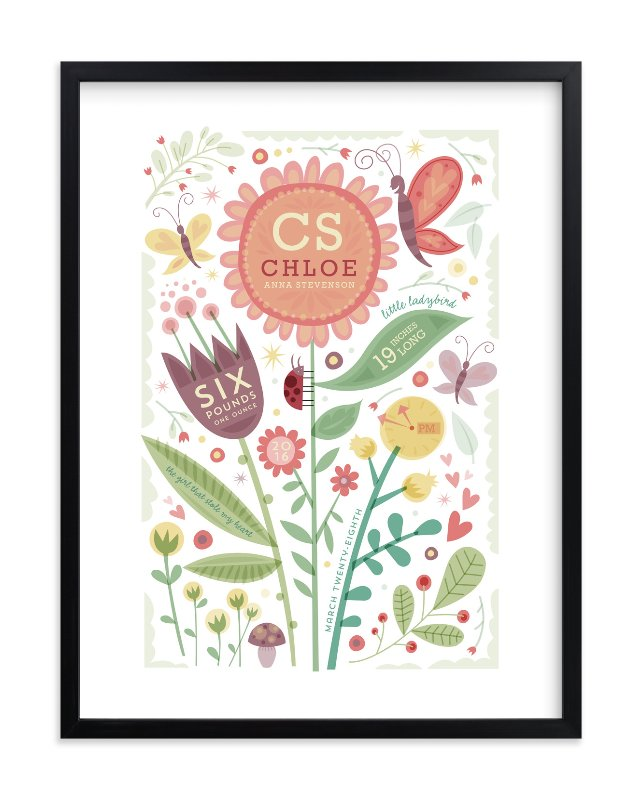 """Girly Floral Collage"" - Nursery Custom Art Print by Danielle Hartgers in beautiful frame options and a variety of sizes."