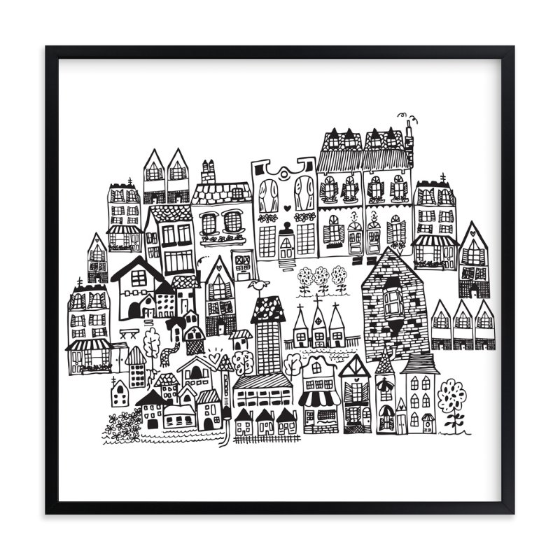 """Little houses on a hillside"" - Art Print by Phrosne Ras in beautiful frame options and a variety of sizes."