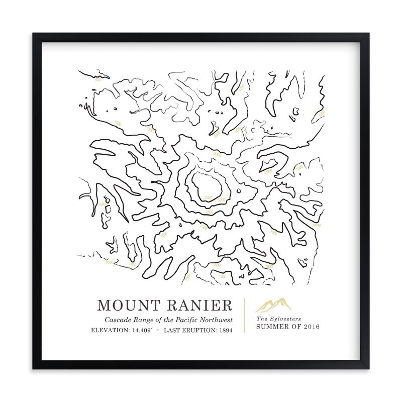 """""""Inked Topography - Mount Rainier"""" by Linda Misiura in beautiful frame options and a variety of sizes."""