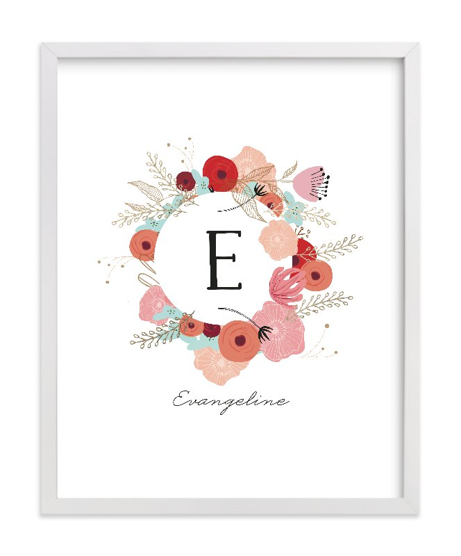 """""""Vintage Floral Monogram"""" - Foil-pressed Children's Custom Photo Art Print by Hannah Williams in beautiful frame options and a variety of sizes."""