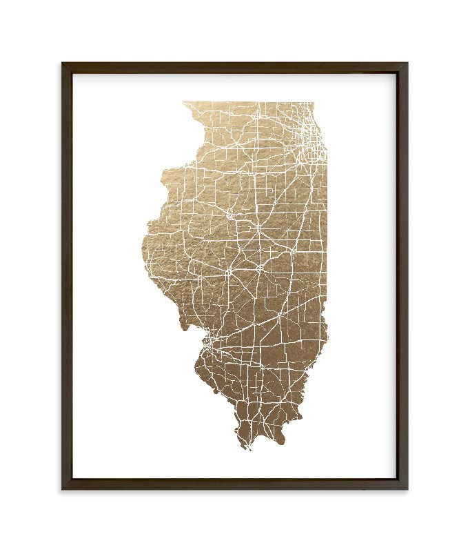 """Illinois Map - Filled"" - Foil-pressed Art Print by GeekInk Design in beautiful frame options and a variety of sizes."