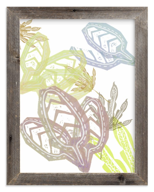 """""""Lavender + Yellow Leaves """" - Art Print by Debra Bianculli in beautiful frame options and a variety of sizes."""