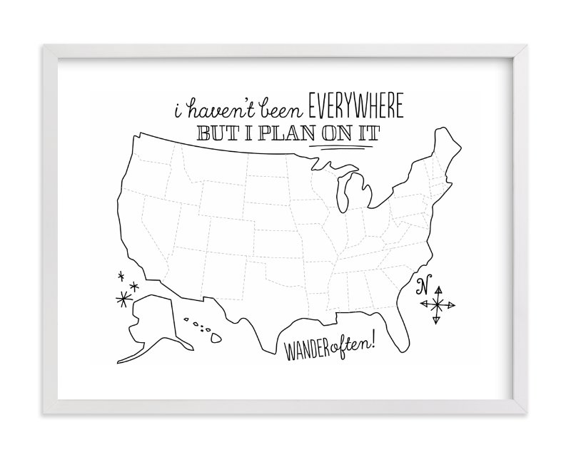"""Where You've Been Map"" - Art Print by Jessie Steury in beautiful frame options and a variety of sizes."