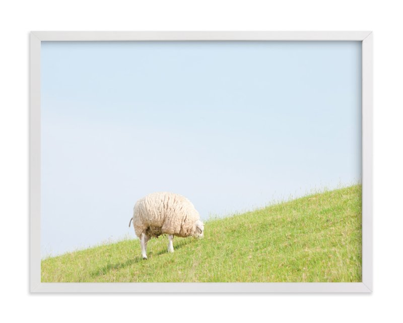 """Sheep at Lunch"" - Art Print by Alexandra Feo in beautiful frame options and a variety of sizes."