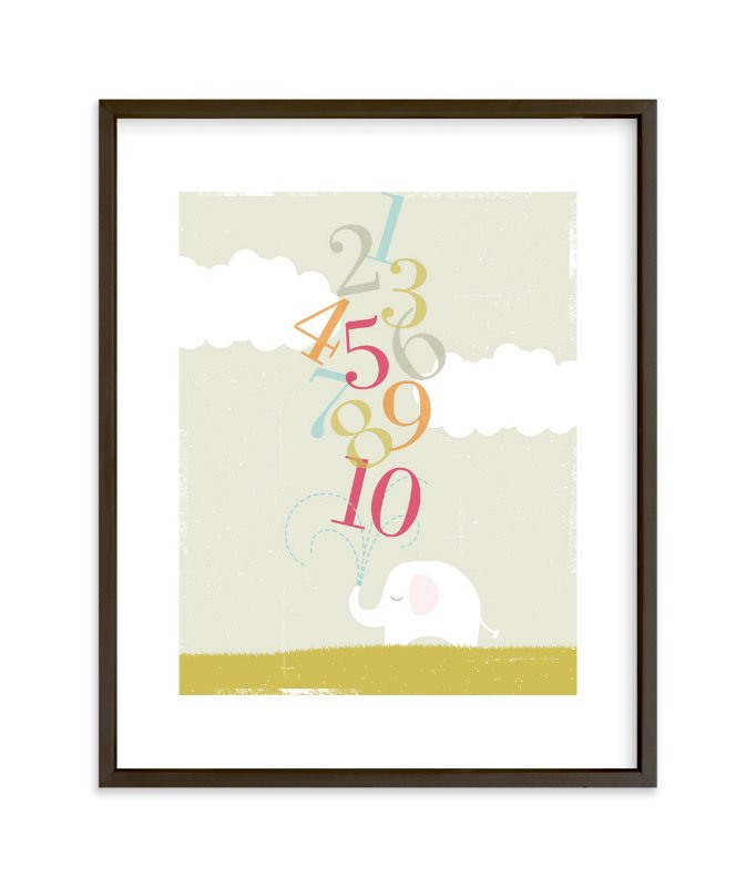 """""""Numbers Elephant"""" - Limited Edition Art Print by Kristie Kern in beautiful frame options and a variety of sizes."""