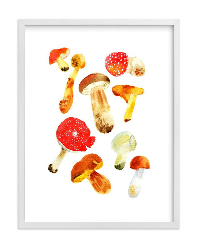 """""""Forest mushrooms"""" - Limited Edition Art Print by Alexandra Dzh in beautiful frame options and a variety of sizes."""