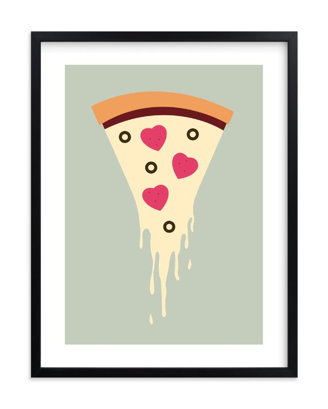 """""""I Love Pizza"""" - Art Print by Katie Zimpel in beautiful frame options and a variety of sizes."""