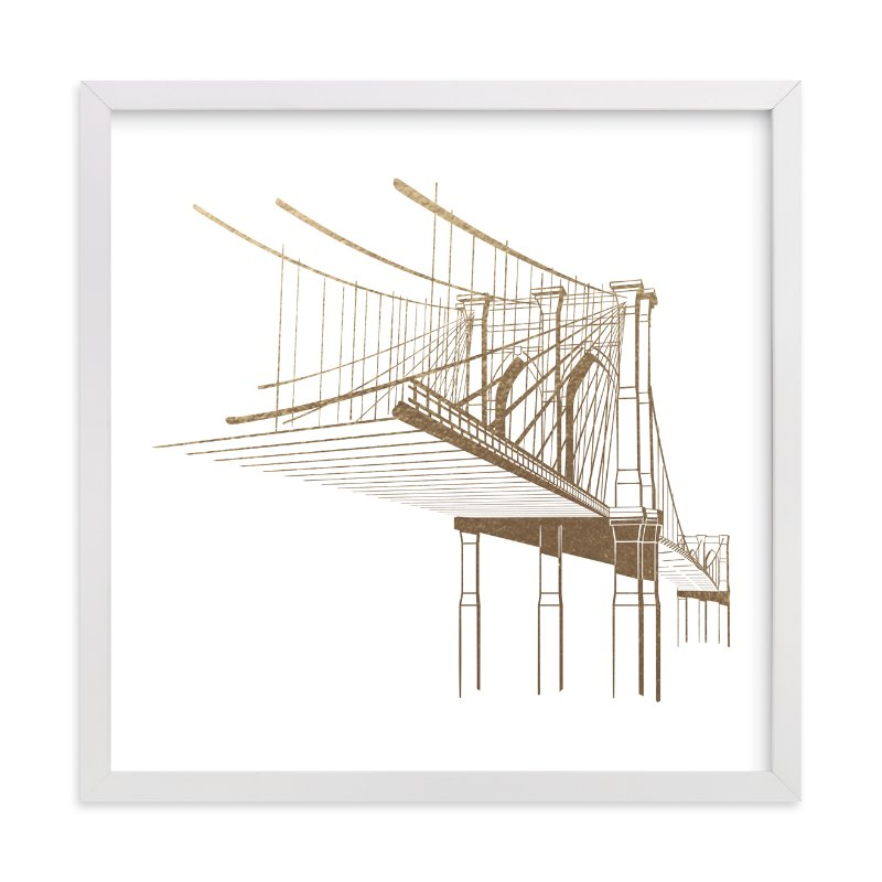 """""""Brooklyn Bridge"""" - Foil-pressed Art Print by Jody Wody in beautiful frame options and a variety of sizes."""