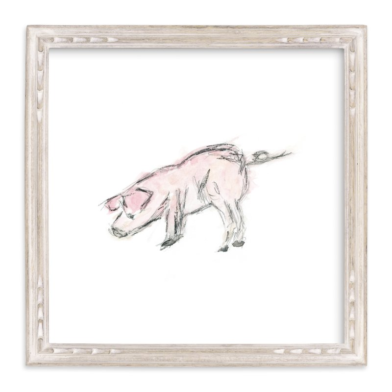 """This Little Piggie"" - Art Print by Mande in beautiful frame options and a variety of sizes."