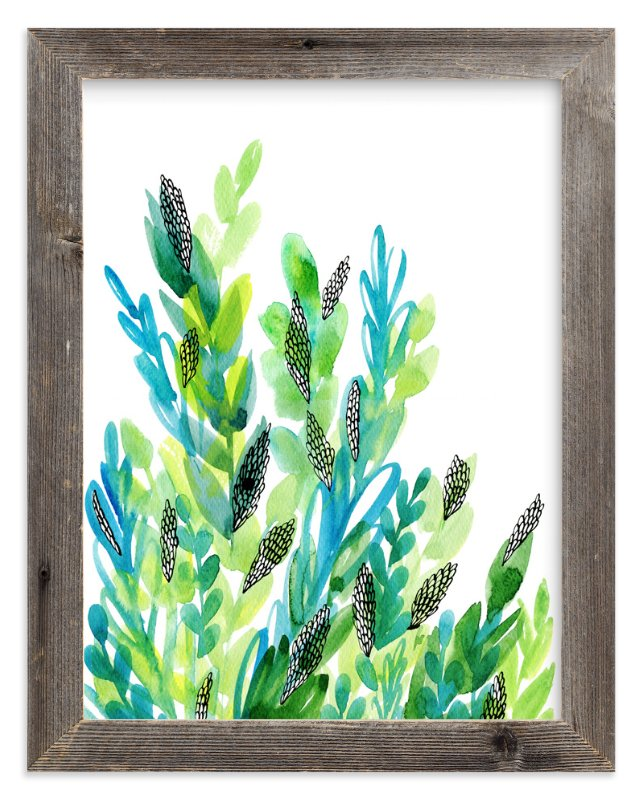 """Green floral"" - Art Print by Alexandra Dzh in beautiful frame options and a variety of sizes."