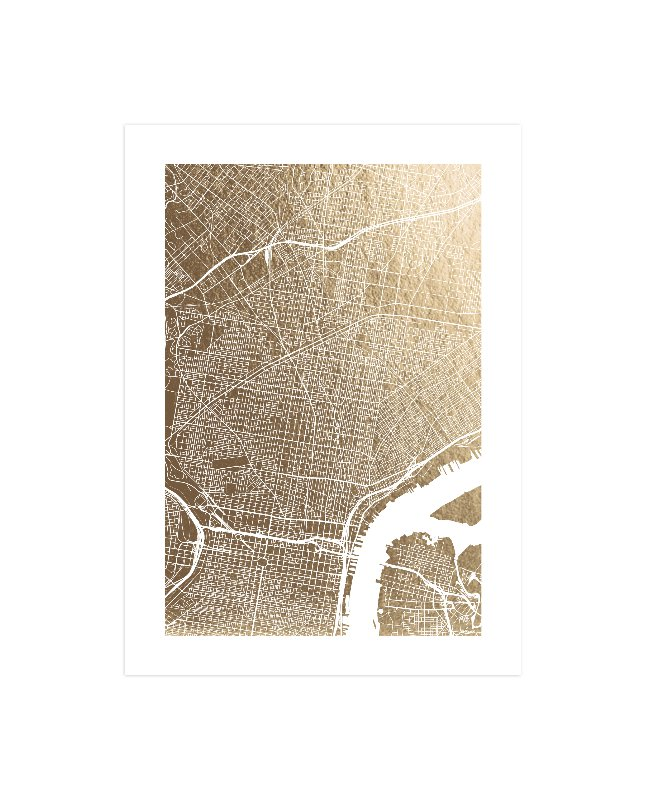 Philadelphia Map Foil Pressed Wall Art by