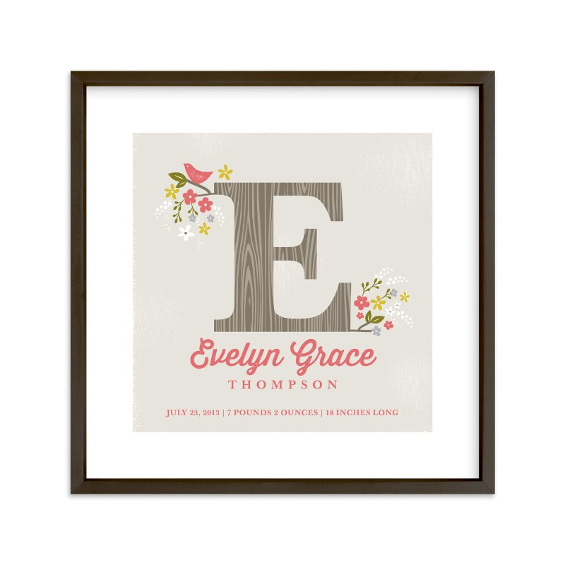 """""""Woodland Initial"""" - Nursery Custom Art Print by Karidy Walker in beautiful frame options and a variety of sizes."""