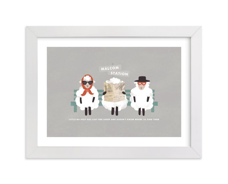 """""""Little Bo Peep"""" - Nursery Custom Art Print by Pistols in beautiful frame options and a variety of sizes."""