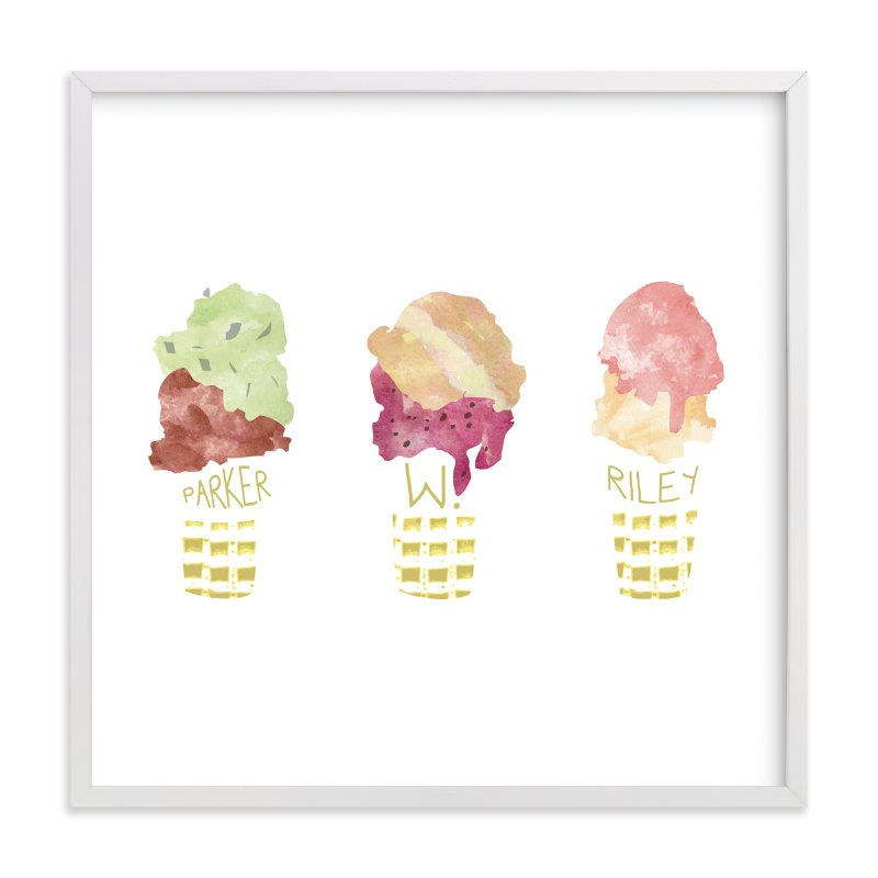 """iceSCREAM"" - Nursery Custom Art Print by WHALEN in beautiful frame options and a variety of sizes."
