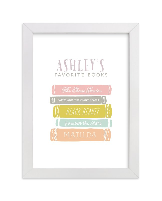 """""""Favorite Books"""" - Children's Custom Art Print by Kelly Nasuta in beautiful frame options and a variety of sizes."""