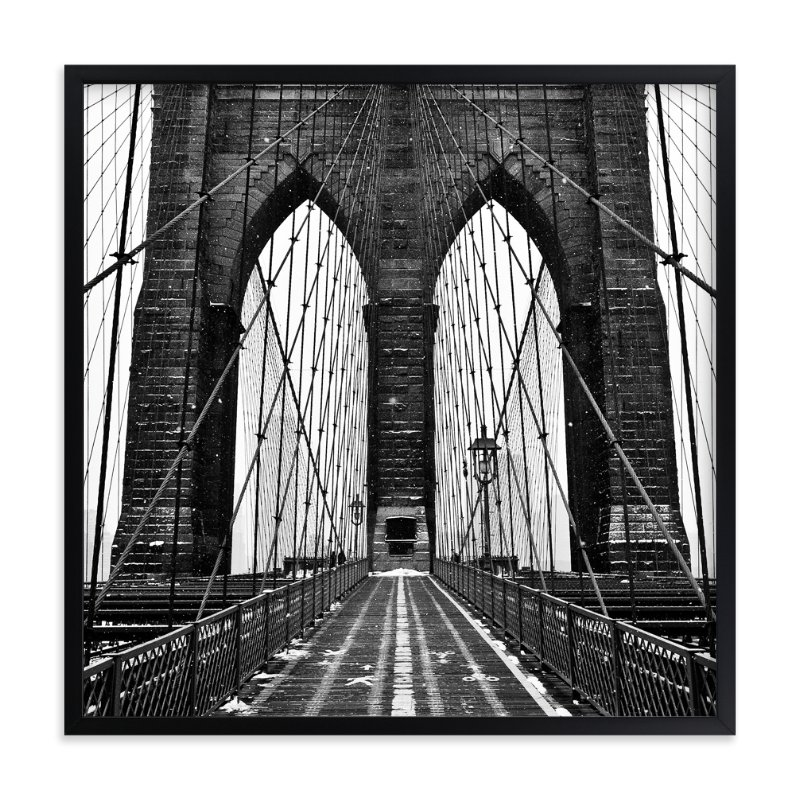 """""""Snowing Bridge"""" - Limited Edition Art Print by Jason Derck in beautiful frame options and a variety of sizes."""