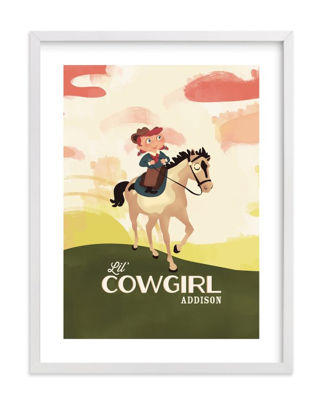 """Lil' Cowgirl"" - Children's Custom Art Print by Pistols in beautiful frame options and a variety of sizes."