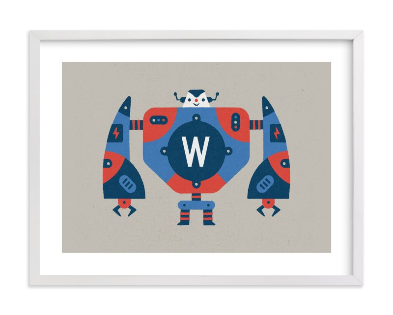 """""""Big Robot"""" - Children's Custom Art Print by Bob Daly in beautiful frame options and a variety of sizes."""