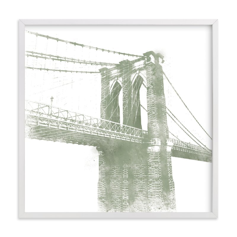 """""""Brooklyn Bridge"""" - Art Print by Paul Berthelot in beautiful frame options and a variety of sizes."""