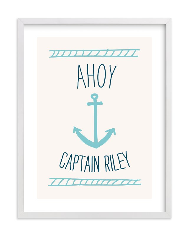 """Ahoy Matey"" - Children's Custom Art Print by Shari Margolin in beautiful frame options and a variety of sizes."