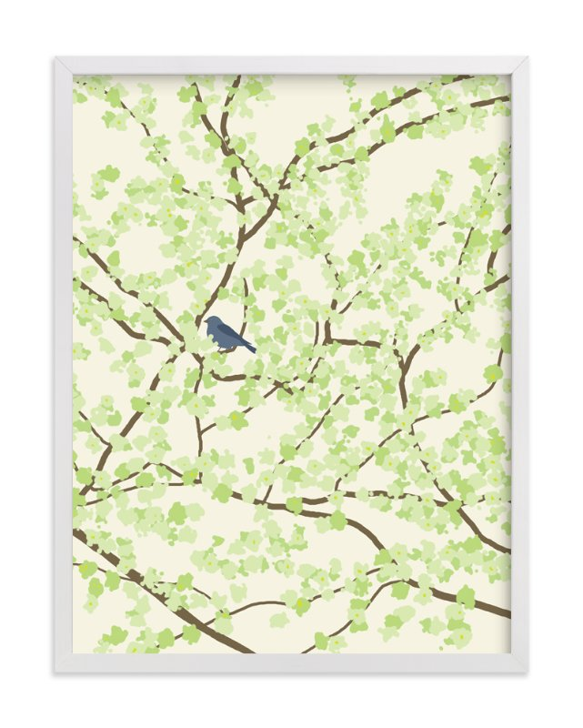 """Plum tree with Birds in Spring"" - Art Print by Jorey Hurley in beautiful frame options and a variety of sizes."