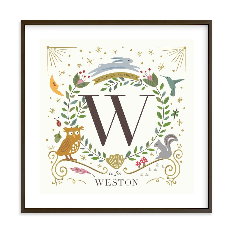 """""""Woodland Alphabet blocks"""" - Nursery Custom Art Print by Griffinbell Paper Co. in beautiful frame options and a variety of sizes."""