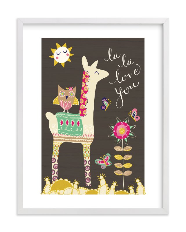 """LlamaLove"" - Limited Edition Art Print by Muffin Grayson in beautiful frame options and a variety of sizes."