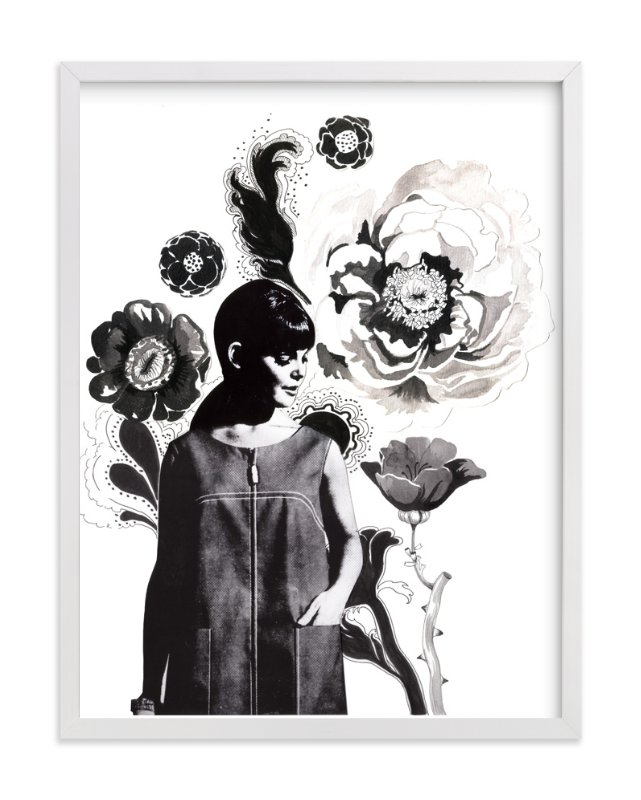 """""""Black Peony"""" - Art Print by Lauren Matsumoto in beautiful frame options and a variety of sizes."""